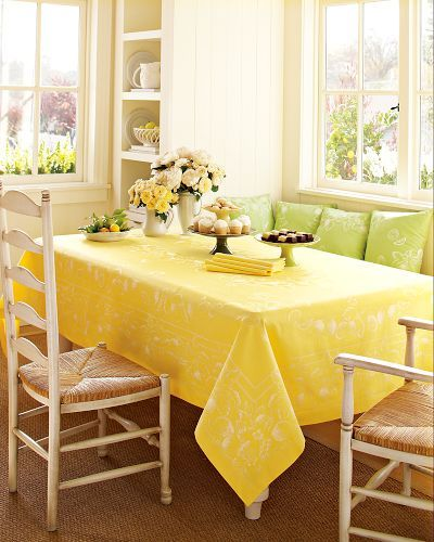 Lemon Jacquard Tablecloths, Lemon