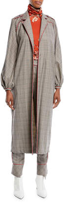 Johanna Ortiz Ser Garnel Open-Front Plaid Suiting Western-Seam Kimono Coat
