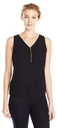 Lark & Ro Women's Zipper Front Sleeveless Top