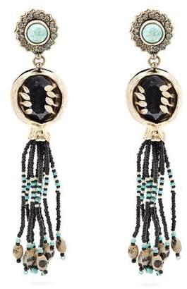 Etro Bead Embellished Tassel Drop Earrings - Womens - Multi