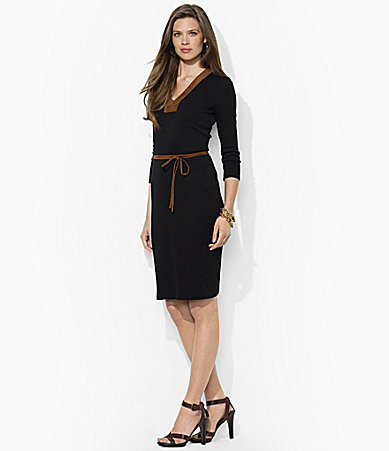 Lauren Ralph Lauren Petites Cotton Belted V-Neck Dress