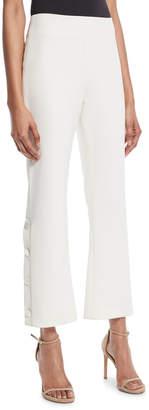 Alexis Larenz Flare-Leg Side-Button Cropped Pants