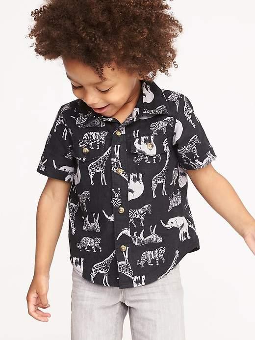 Safari Animal-Print Linen-Blend Shirt for Toddler Boys