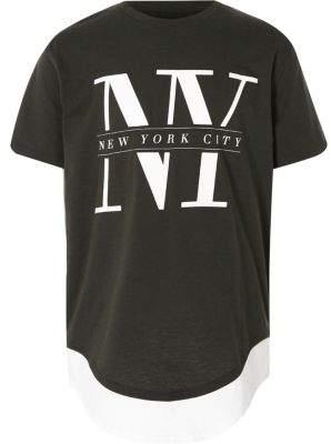 River Island Boys khaki 'NY' print double layer T-shirt