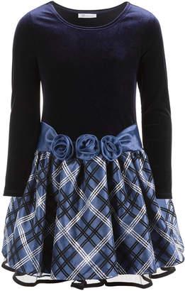Bonnie Jean Little Girls Velvet Drop-Waist Plaid Dress