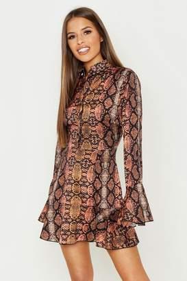 boohoo Petite Snake Print Ruffle Hem Shirt Dress