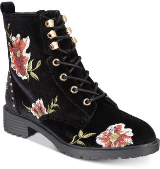 Material Girl Odelia Lace-Up Combat Booties, Created for Macy's Women's Shoes