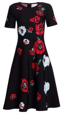 Carolina Herrera Knit Floral Cocktail Dress