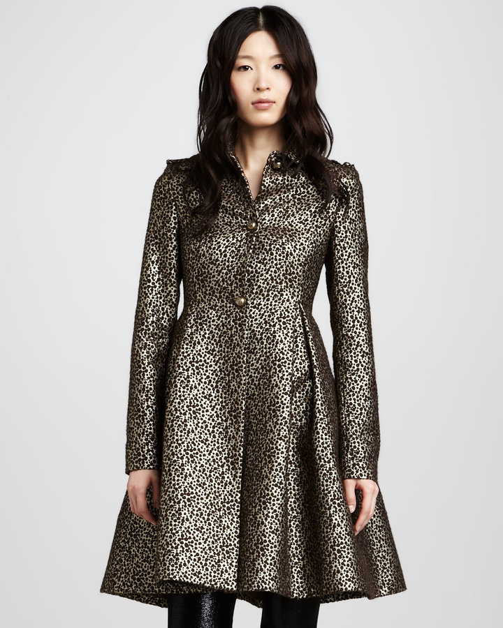 Alice + Olivia Connie Metallic Flounce Coat