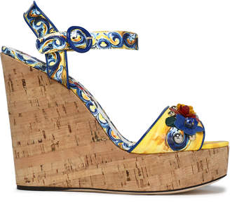 Dolce & Gabbana Appliqued Printed Patent-leather Wedge Sandals