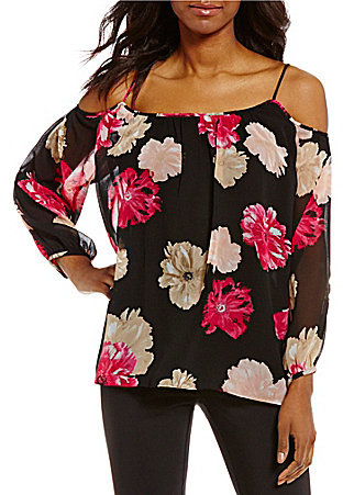 Calvin KleinCalvin Klein Long Sleeve Cold-Shoulder Floral Print Chiffon Top