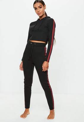 Missguided Black Sports Stripe Cropped And Hoodie Legging Set