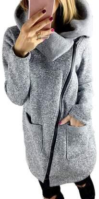 Mokao Plus Size Fall Winter Fashion Womens Casual Solid Color Jacket Coat Long Zipper Sweatshirt Outwear Tops