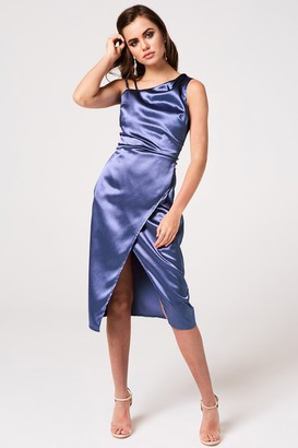 63b45a0203ef Girls On Film Kingly Blue Satin Midi Slip Dress