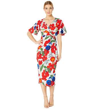 479edd9b Maggy London Stem Cosmo Printed Crepe Wrap Over Sheath