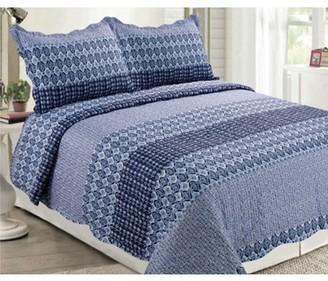 Online 3-Piece Floral Microfiber Bedspread Quilt Set