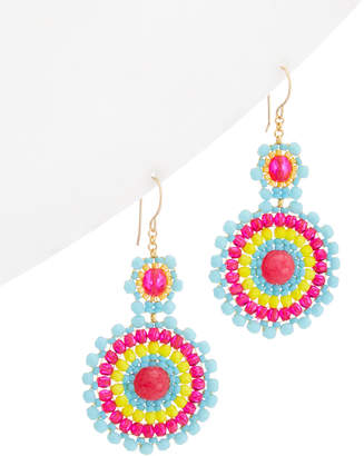 Miguel Ases 18K Plated Beaded Drop Earrings