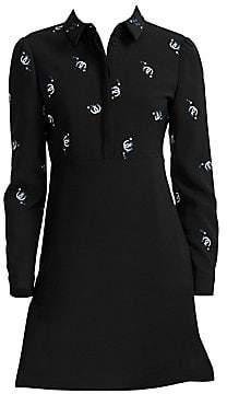 Maje Women's Embroidered Collared A-Line Mini Dress