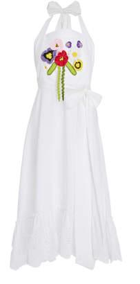 MY BEACHY SIDE Embroidered Cotton Halter Dress