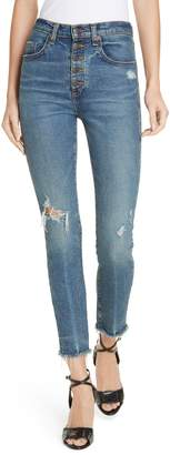 Veronica Beard Faye Distressed Skinny Jeans