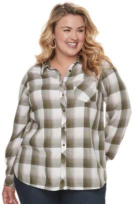 Sonoma Goods For Life Plus Size SONOMA Goods for Life High-Low Plaid Shirt