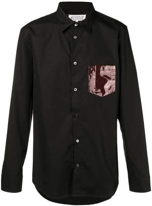Maison Margiela contrast-patch fitted shirt