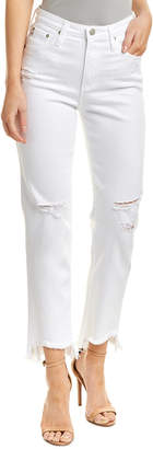AG Jeans Phoebe 50 Years White Frayed High-Rise Tapered Leg