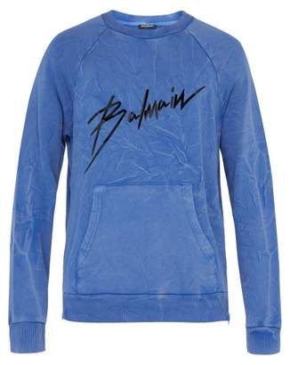 Balmain Distressed Effect Logo Print Cotton Sweatshirt - Mens - Blue