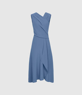 Reiss ORDER BY MIDNIGHT DEC 15TH FOR CHRISTMAS DELIVERY MARLING WRAP FRONT MIDI DRESS Mid Blue