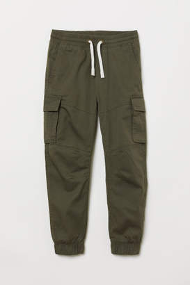 H&M Jersey-lined Cargo Pants - Green