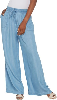 Logo By Lori Goldstein LOGO by Lori Goldstein Chambray Full-Length Wide-Leg Pants