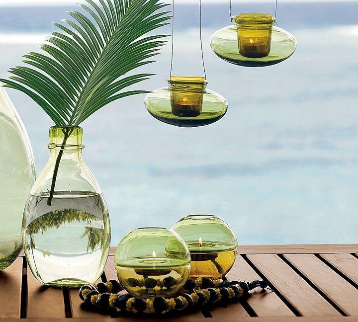 Green Glass Tealight Holders
