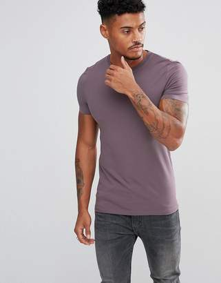 Asos Extreme Muscle Fit T-Shirt With Crew Neck In Purple