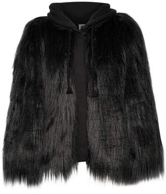 House of Fluff - Yeti Oversized Faux Fur And French Terry Hooded Coat - Black