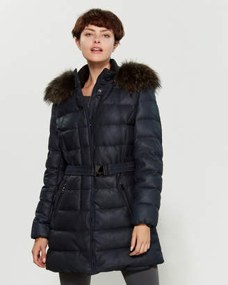 Intuition Paris Navy Dorane Real Fur-Trimmed Leather Puffer Coat