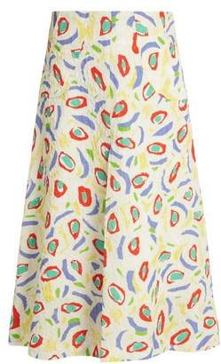 Duro Olowu - Abstract Bird Print Cloque Midi Skirt - Womens - White Multi