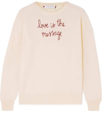 Lingua Franca - Love Is The Message Embroidered Cashmere Sweater - Cream
