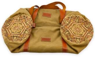 GISY - Earth Mandala Embroidered Canvas & Leather Barrel Bag