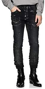 Purple Men's P001 Metallic Slim Jeans-Black