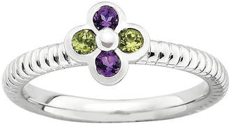 JCPenney FINE JEWELRY Personally Stackable Genuine Amethyst & Peridot Flower Ring
