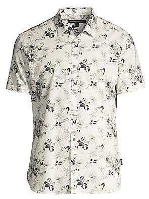 John Varvatos Men's Jasper Floral Print Linen-Blend Short-Sleeve Shirt