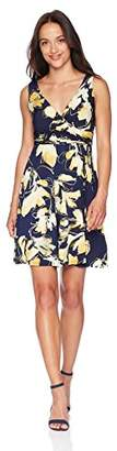 Tiana B Women's Petite Printed Faux wrap Dress