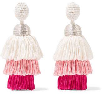 Oscar de la Renta Tiered Tasseled Beaded Clip Earrings - Pink