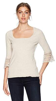 525 America Women's Cotton Crochet Portrait Top