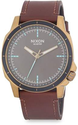 Nixon Men's Ranger Stainless Steel and Leather Strap Watch