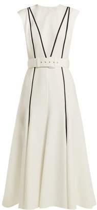 Emilia Wickstead Denvella Belted Cloque Dress - Womens - White Black