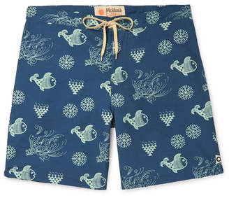 78c7cbbf2f Mollusk Wide-Leg Long-Length Printed Cotton-Blend Swim Shorts
