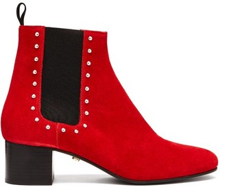 ALEXACHUNG Stud Embellished Suede Chelsea Boots - Womens - Red