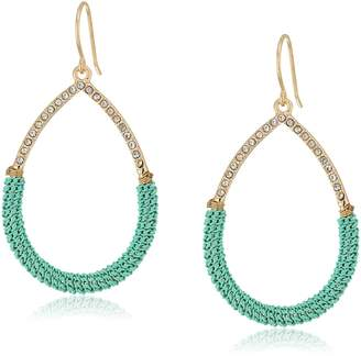 ABS by Allen Schwartz Going Coastal Turquoise Wrapped Gypsy Hoop Pierced Earrings