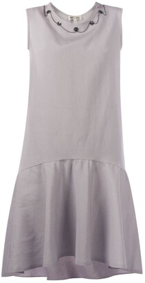 Muza Embellished Linen Peplum Hem Dress